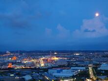 Industrial Area Under Full Moon