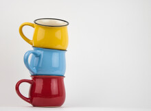 Colorful Stacked Mugs For Espresso Coffee