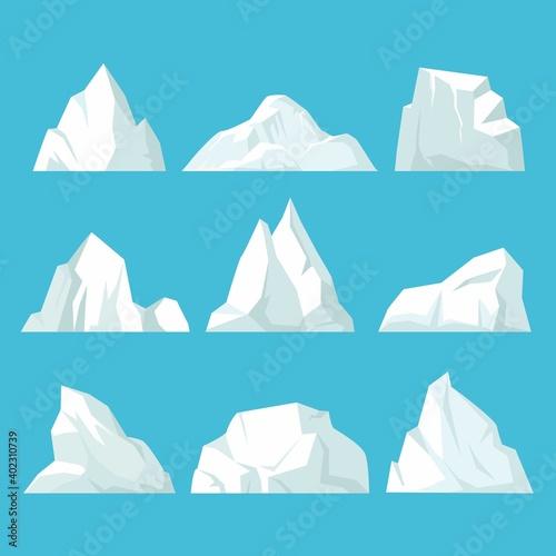 Canvas Geometric icebergs set