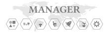 Manager. Banner Mit Icons. Creative, Communicative, Innovative, Inspiration, Successful, Responsibility, Motivating. Isoliert Freigestellt Vor Weißem Hintergrund.