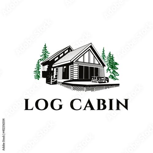Photo vintage log cabin logo vector illustration design