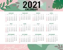 2021 Calendar Template. Calendar Concept Design With Abstract Natural Pattern. Vector Illustration