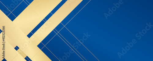 Leinwand Poster Modern gold blue abstract background with golden lines and diagonal shapes