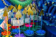 Thai Krathong By The Temple Wat Khao Phra Khru Si Racha District Chonburi Thailand Asia