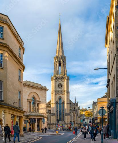 Billede på lærred World Heritage City Street with Georgian architecture, Bath.