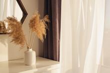Pampas Grass In Vase On The Dresser