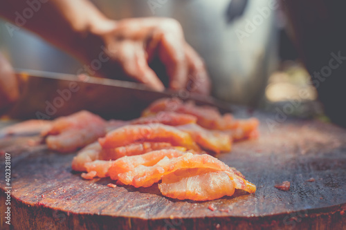 Fotografia Fish meat slice for cooking fish menu, fresh and healthy food, close up uncooked