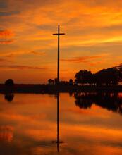 Orange Sky Sunrise At The Great Cross In Saint Augustine Florida