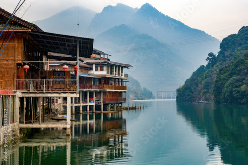 Fotografie, Obraz Scenery of rivers, green mountains and riverside towns in Guilin, Guangxi, China