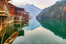 Scenery Of Rivers, Green Mountains And Riverside Towns In Guilin, Guangxi, China