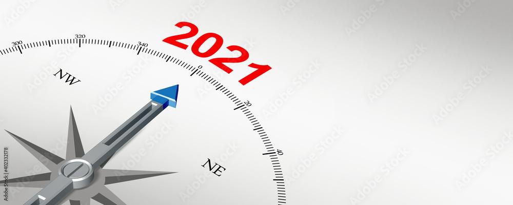 Fototapeta Happy New Year Background. Start in 2021. 3D illustration