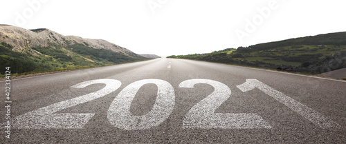 Fototapeta Happy New Year Background. Road to 2021.
