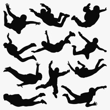 Skydiving Silhouette Vector Set