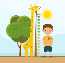 Height Comparison Between A Cute Colorful Giraffe And Young Boy Standing Alongside A Tree With Measurement Scale, Colored Cartoon Vector Illustration