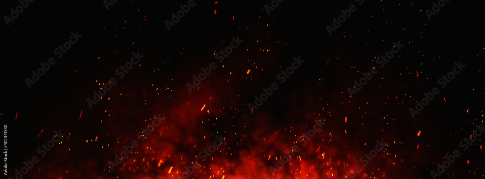 Fototapeta Fire embers particles over black background. Fire sparks background. Abstract dark glitter fire particles lights.