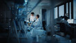 canvas print picture Modern Medical Research Laboratory: Two Scientists Working, Using Digital Tablet, Analyzing Test, Talking. Advanced Scientific Pharmaceutical Lab for Medicine, Biotechnology Development. Evening Time