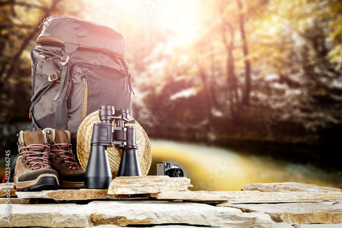 Slika na platnu An expedition backpack in beautiful unknown landscapes