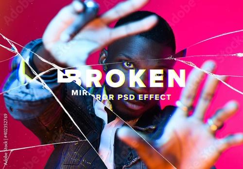 Fototapeta Broken Mirror Photo Effect Mockup obraz