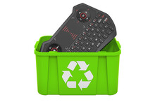 Recycling Trashcan With Mini Keyboard, 3D Rendering