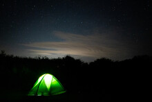 Stars In Sky With Enlighten Camping Tent - Astrophotography