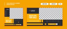 Real Estate Business Minimal Vector Social Media Post Banner Set Design Template. Fully Editable. Can Be Used On Any Social Media Platform.