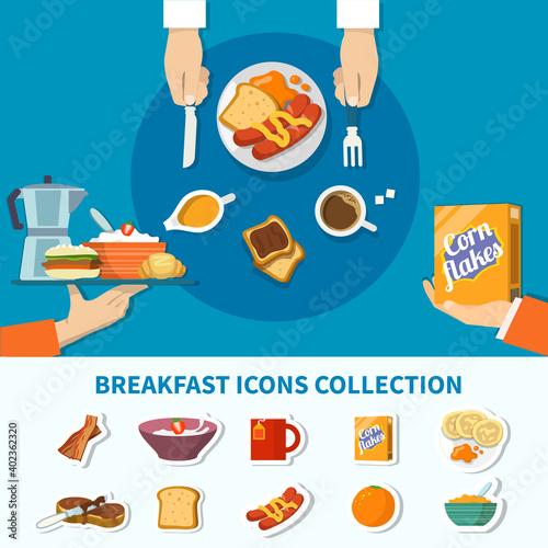 Fototapeta Flat Breakfast Icons Collection obraz