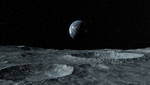 View Of The Planet Earth From The Surface Of The Moon. Airless Space. Simulated Drone Flight. High Quality 3d Illustration