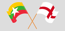 Crossed And Waving Flags Of Myanmar And England