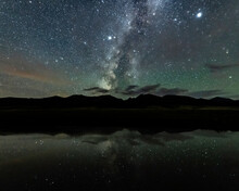 Galactic Core, Jupiter, And Saturn Over A Pond