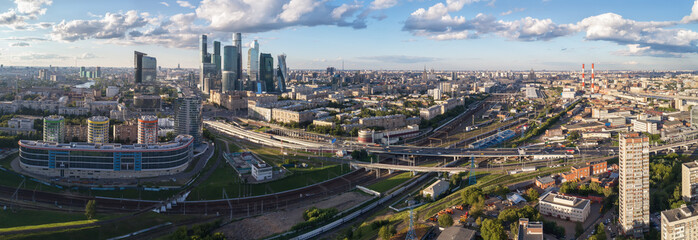 Aerial view of the city, Moscow International Business Center Moscow-City, Kievsky Station and Kutuzovsky Prospekt. Panoramic shooting.