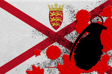 Jersey Flag And MK2 Frag Grenade In Red Blood. Concept For Terror Attack Or Military Operations With Lethal Outcome