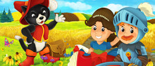 Cartoon Prince And Princess On The Farm Ranch Traveling Meeting Cat Illustration