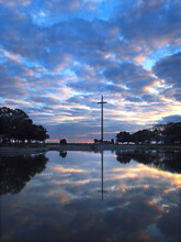 Blue And Orange Clouds At The Great Cross In Saint Augustine Florida