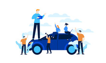 Smart Car Services Mini People Developing Smart Car Flat Illustration