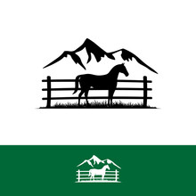 Simple Line Horse Logo Design In The Cage And Mountain Silhoutte Background Sign Symbol Vector Illustration