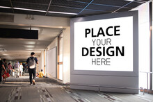 Place Your Design Here. Large Billboards In The Airport Or Mall. Advertising For Product Display