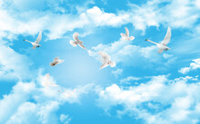 White Swans And Doves Fly In The Blue Cloudy Sky