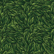 Abstract leaves seamless background in green color. Spring vector illustration.