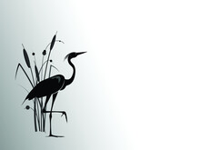 A Heron  Stands Behind A Cattail Bush. Vector Silhouette Drawing.