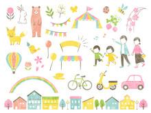 Illustration Set Of Outside In Spring