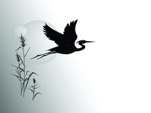 A Silhouette Of Flying Heron Against The Backdrop Of A Reeds And Sun Circle. Vector Drawing.