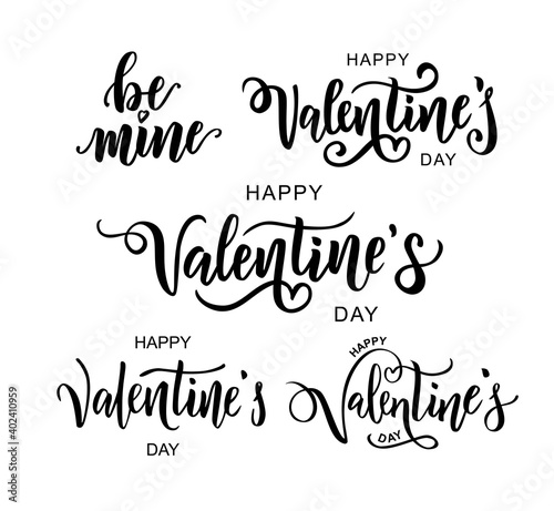 Obraz Happy Valentine's day hand lettering texts set. Vector illustration. Romantic quote postcard, card, invitation, banner template.  - fototapety do salonu