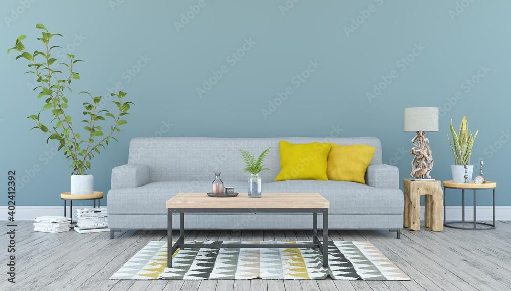 Fototapeta 3d Illustration - Skandinavisches, nordisches Wohnzimmer mit einem Sofa und Tisch - Textfreiraum - Platzhalter