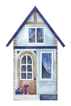 Watercolor Hand Painted Blue House Facade With Holiday Gifts