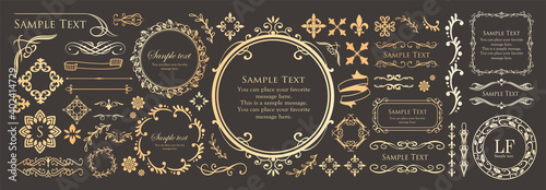 Fototapeta 高級感のあるフレームデザイン カードデザイン アンティーク ラグジュリー ビンテージ obraz