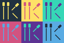 Pop Art Matches Icon Isolated On Color Background. Vector.