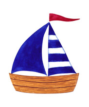 Wooden Boat With Blue Sail And Red Flag. Cute Sail Boat. Isolated Hand Painted Watercolor Illustration On White Background