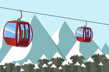 Ski Lift Gondola With Skis And Snowboard Above The Mountain's Peak In The Alps. Extreme Tourist Backgrounds And Vector Illustrations