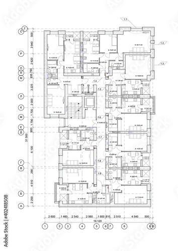 Obraz Detailed architectural multistory   building floor plan, apartment layout, blueprint. Vector illustration - fototapety do salonu