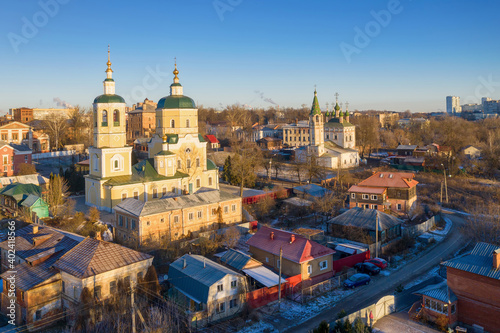 Fotografie, Obraz Aerial view of historical part of Serpukhov and church of Elijah the Prophet at sunny winter day